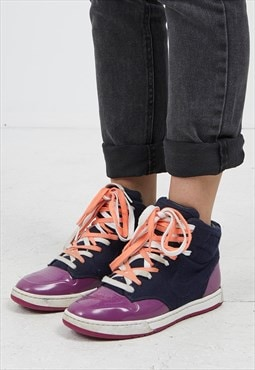Vintage Navy Purple Orange NIKE Hi-Tops Trainers