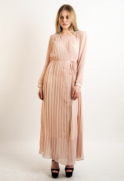 Long sleeves Pleated Maxi Dress (NUDE)