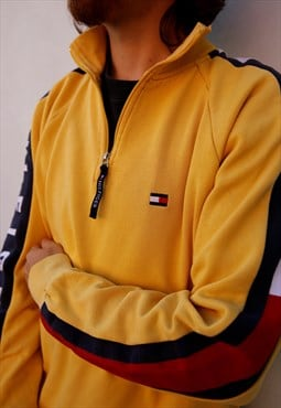Vintage 90s Tommy Hilfiger yellow quarter zip sweatshirt
