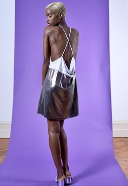 GALINA Two-tone metallic silver slip DRESS