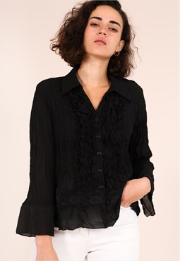 Vintage 80s Black Semi Sheer Blouse