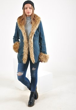 Vintage faux fur collar denim jacket