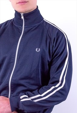 Vintage Fred Perry Striped Jacket in Blue