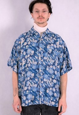 Men's shirt from the 90s with short sleeve abstract print