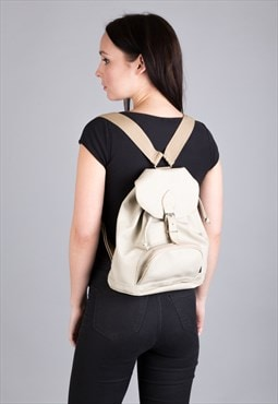 Vintage Leather Back Pack, Rucksack Cream