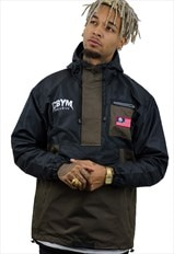 1/4 zip Athlete pullover/ khaki festival windbreaker jacket