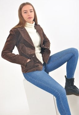 Vintage suede leather blazer jacket in brown