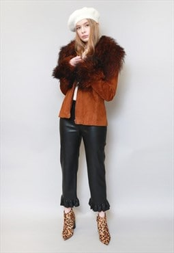 Vintage 1970's Stunning Brown Cropped Shearling Coat
