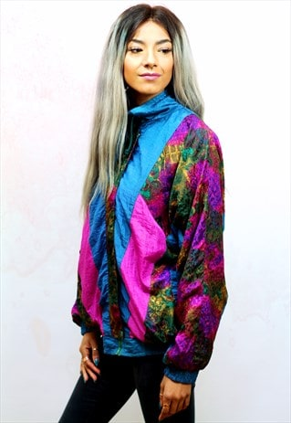 1990S VINTAGE MULTI COLOURED SHELL TRACK JACKET