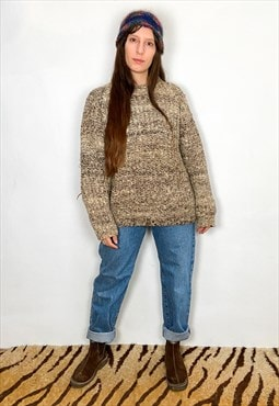 VINTAGE Chunky Brown Marl Knit Long Sleeve Jumper
