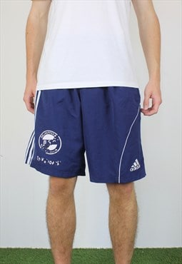 Vintage Adidas Shorts in Blue with Logo, Drawstring, Pockets