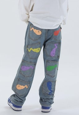 unusual cartoon jeans graffiti rainbow denim overalls