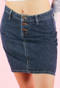 Vintage 90s Denim Skirt Mini Y2K Dark Blue