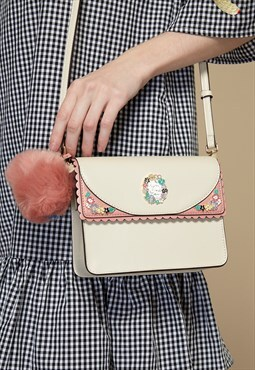 Two-Tone Crossbody Bag with Pom-pom Charm