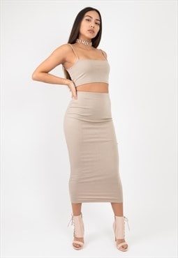 Nude basic maxi party skirt