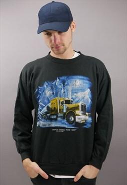 Vintage Graphic Trucker Sweater in Black