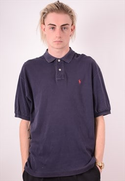 Polo Ralph Lauren Mens Vintage Polo Shirt Medium Blue 90s