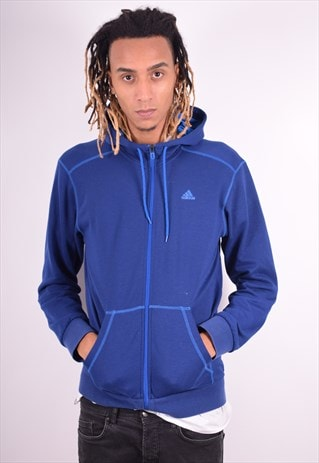 ADIDAS MENS VINTAGE HOODIE JACKET MEDIUM BLUE 90'S