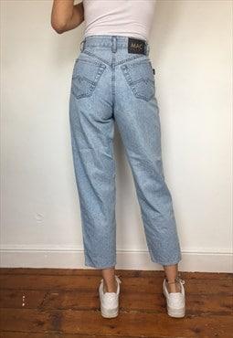 Vintage 90s Blue High Waisted Slim Fit Mom Jeans UK 8 W26