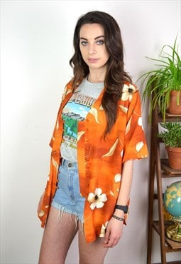 90s Vintage Abstract Orange Printed Blouse