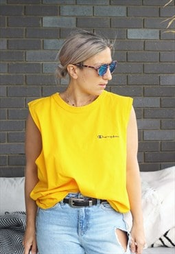 Vintage 1990s Champion yellow oversized sleevless t shirt