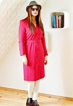 Red vintage trench rain coat long jacket