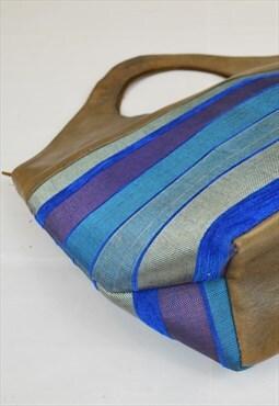 Vintage Striped Shopper Blue Leather Trim Top Handle