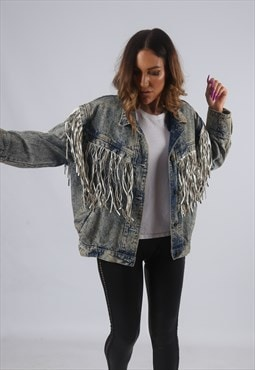 Vintage Denim Tassel Fringe Jacket ACID WASH UK 14 (KBP)
