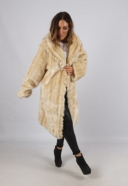 Vintage Faux Fur Coat Jacket Mid Long UK 18 XXL  (J3C)