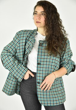 Vintage 90's Talbots Blue Plaid Jacket Size 22