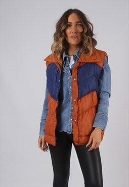 Vintage Gilet Jacket Fitted Orange Blue UK 14 (DLAF)