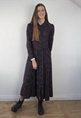 Vintage Dark Paisley Print Dress