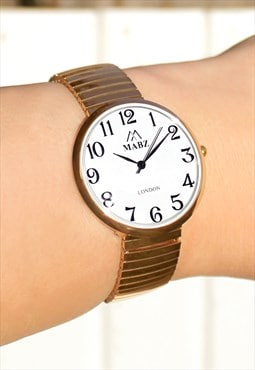 Gold Watch with Expander Strap