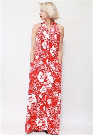 VINTAGE 70'S BEAUTIFUL FLOWER MAXI SLEEVELESS DRESS