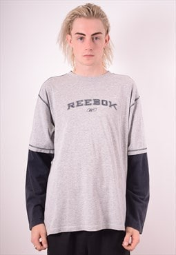 Reebok Mens Vintage Top Long Sleeve Large Grey 90s