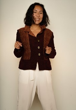 Bordeaux Red Piles Tapestry Jacket M