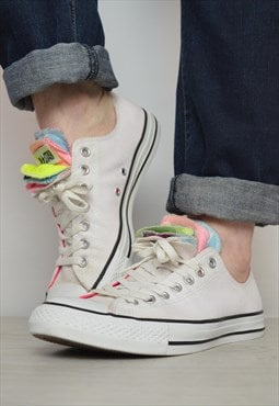 Vintage 90s Converse White & Colourful Multi TongueOx Shoes