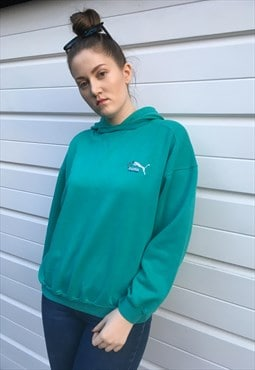 Womens 80s Puma hoodie sportswear green sweatshirt top