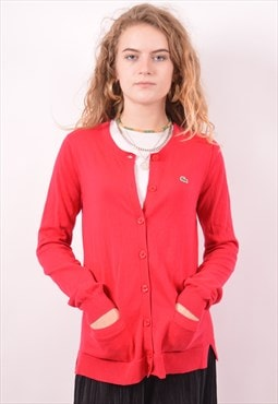 Lacoste Womens Vintage Cardigan Sweater Small Red 90s