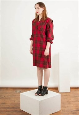 Plaid Wool Dress / Tartan Long Sleeve Dress