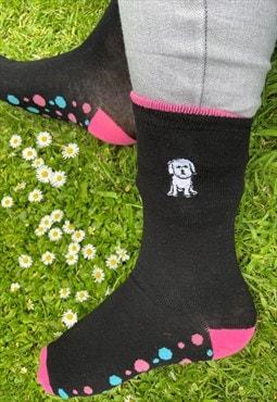 Bichon frise socks, ankle socks, embroidered socks