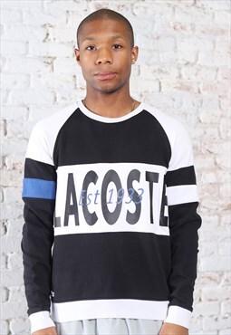 Vintage Lacoste Big Print Logo Spellout Sweatshirt Black