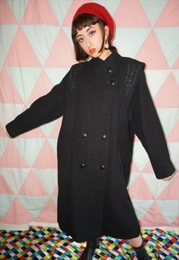 Vintage 80s Long Black Wool Coat With Floral Embroidery
