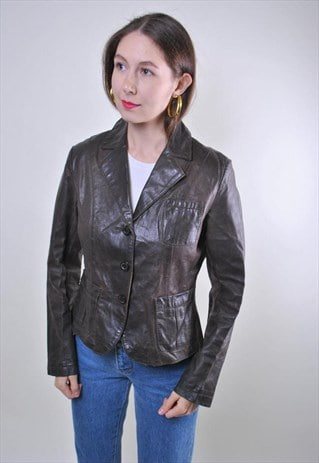 Woman brown vintage leather buttons jacket , Size M