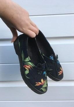 Womens Dr Martens shoes black multicoloured floral boots