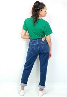 1990s vintage LEVI'S 550 dark blue stretch mom jeans