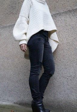 Asymmetrical Sweater/Cozy/Knitwear/Maxi Blouse/F1502