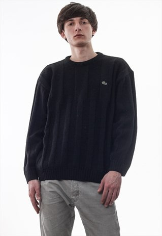 VINTAGE LACOSTE SWEATER 90S BLACK CABLE KNITTED