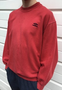 Mens Vintage 80s 90s Umbro sweatshirt burgundy red jumper