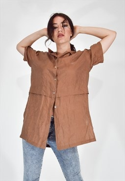 VINTAGE female shirt long model brown casual style